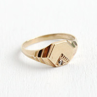Antique Art Deco 10k Rose Gold Blank Signet Ring - Size 4 3/4 1930s Diamond Accent Fine Jewelry