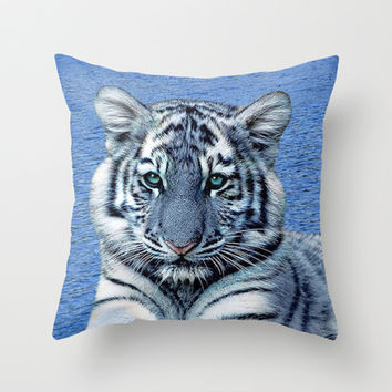 Blue Maltese Tiger Throw Pillow by Erika Kaisersot