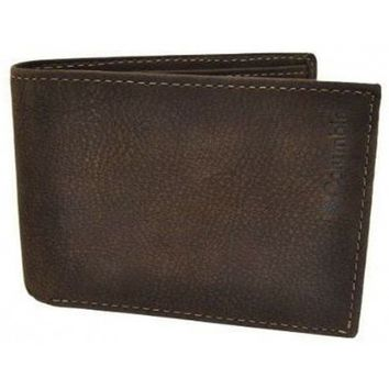 Columbia Mocca Brown Leather Traveler Billfold Wallet