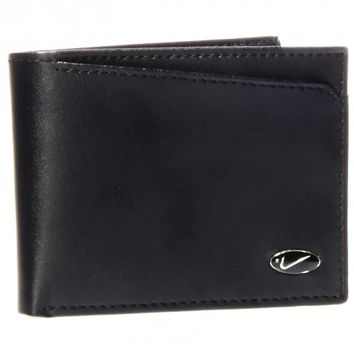 Nike Golf Black Genuine Leather Smooth Enamel Logo Passcase Bifold Wallet