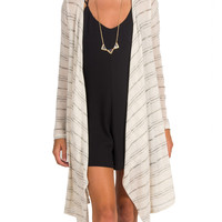 Fine Knit Striped Long Sleeve Cardigan - Cream - $21