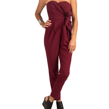 Strapless Side Tie Jumpsuit - Wine - Wine /