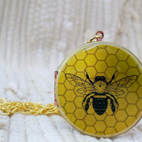The Vintage Bumble Bee Brass Gold Art Locket by BelleBlakeDesigns