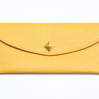 Mustard Yellow Leather wallet with golden pyramid by Pikamo