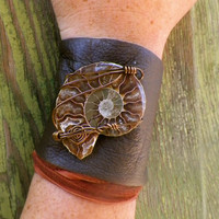 Ammonite corset style recycled leather cuff by SpiritTribe on Etsy