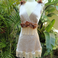 Vintage 20s flapper slip dress tan satin vintage by Vastlyvintage