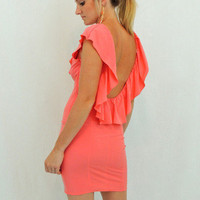 Salmon Ruffle Dress in Salmon - $49.00 | Daily Chic Dresses | International Shipping