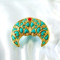 Teal gold brooch filigree jewelry victorian by AndreaBacmanJewelry