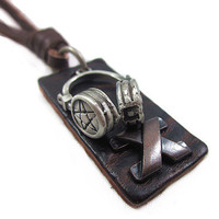 soft leather long necklacemetal pendant men by braceletcool