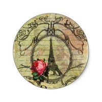 Paris Eiffel Tower  Red Rose Steampunk Stickers from Zazzle.com