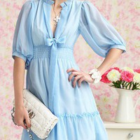 Summer Blue. Feminine Flare Deep V Neck Ribbon Blue Chiffon Dress | GlamUp - Clothing on ArtFire