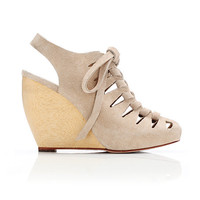 Loeffler Randall - SHOP - Vivan lace-up wedge- nude suede