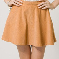 Corduroy Skater Skirt in Camel - Bottoms - Retro, Indie and Unique Fashion
