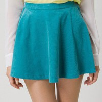 Corduroy Skater Skirt in Teal - Bottoms - Retro, Indie and Unique Fashion