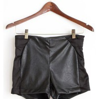 Leather and Satin Shorts