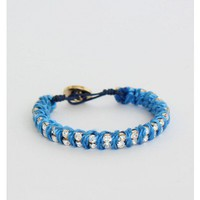 Blue Rope And Rhinestone Twist Bracelet