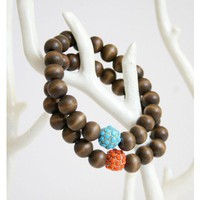 Wood Beads with Pink Pave Ball Bracelet