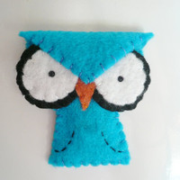 Decorative owl magnet blue angry felt animal by TheOffbeatBear