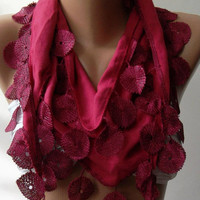 Fuchsia Pashmina and Elegance Shawl / Scarf with Lace by womann