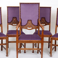 Stunning Set of Five <br/>Arts & Crafts <br/>High-Back Oak Dining Chairs | Traditionally Upholstered by The Unique Seat Company