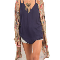 NATIVE FEATHER MOUNTAIN PRINT KIMONO