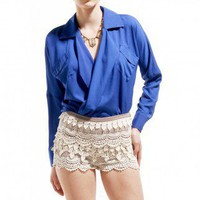 Lace Tier Hot Pants in Cream by AKIRA | White Hot Pants | shopAKIRA.com