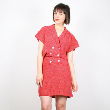Vintage Red Dress 80s Dress Mini Dress Secretary Dress 1980s Dress Slouch Top Shirt Dress New Wave White Polka Dot Dress S Small M Medium