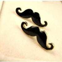 Curly Moustache Stud Earrings Gold and Black by NiceStuds on Etsy