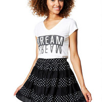 Mix Dot Skater Skirt - Black