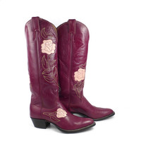 Rose Cowboy Boots Vintage 1980s Inlay Red Burgundy Pink Tall Justin Western Women's size 7 1/2 B
