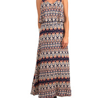 Strapped X Tiered Maxi Dress - Navy