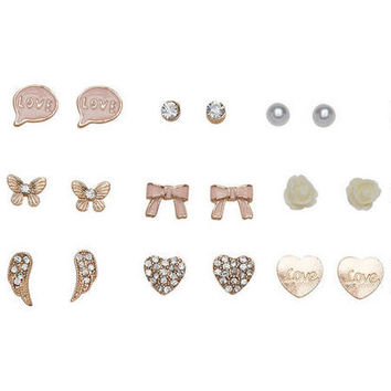 9 Pair Girly Girl Earring Set