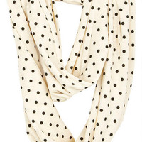 Polka Dot Knit Infinity Scarf - Black