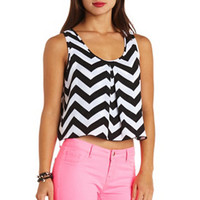 CHEVRON PRINT CHIFFON SWING CROP TOP
