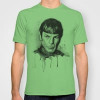 Spock Star Trek Art Watercolor Portrait Sci-Fi Leonard Nimoy T-shirt by Olechka