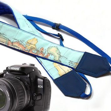 DSLR Camera Strap. Blue camera strap.  Vintage Camera Strap. World Map Camera Strap. Camera accessories