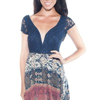 Thrift Shop Theme Open back Combo Dress - Navy