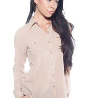 Pocket of Turbulence Pocket of Button Up Top - Mocha