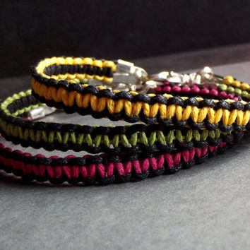 Macrame Cord Bracelet:  Hot Pink, Lime Green, Neon Yellow and Black Hand Tied Stacked Bracelets, Colorful Bohemian Jewelry