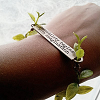 Possibility Begins With Imagination - Inspirational Bracelet, Nature Inspired Jewelry, Leaves Wristlet, Word Bangle, Engraved Bracelet Words