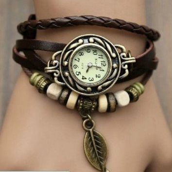 Brown Color Quartz Fashion Weave WRAP Around Leather Bracelet Lady Woman Wrist Watch