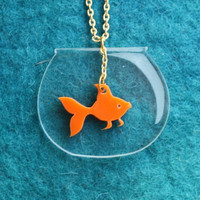 Goldfish Necklace,PlexiglassJewelry,Lasercut Acrylic,Gifts Under 25 | Luulla