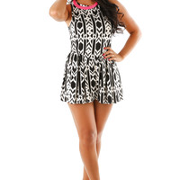 Ride The Tide Romper: Black/Ivory