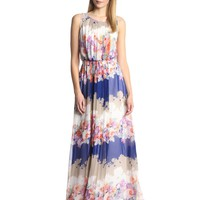 Jessica Simpson Women's Sleeveless Maxi Dress with Pleating and Crochet Details