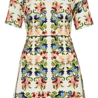 Fluro Flower Jacquard A-Line Dress