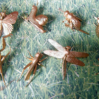 Golden Bug Creature Hair Clips by girlsknow on Etsy