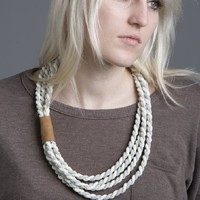 Supermarket - Nicolux Fabric Necklace- Twisted Ivory and Light Blue from Nicolux