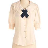 Scholastically Sweet Top | Mod Retro Vintage Short Sleeve Shirts | ModCloth.com