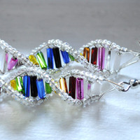 NEW  Double Rainbow Genes  DNA Earrings by toutdoucement on Etsy