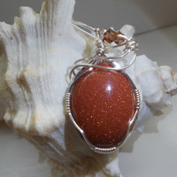 Brown Goldstone Pendant by elainesgems on Etsy